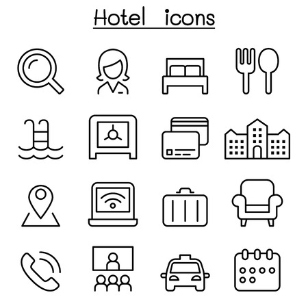 Hotel icon set in thin line style