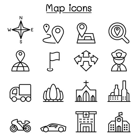 residential zone: Map & Symbol icon set in thin line style