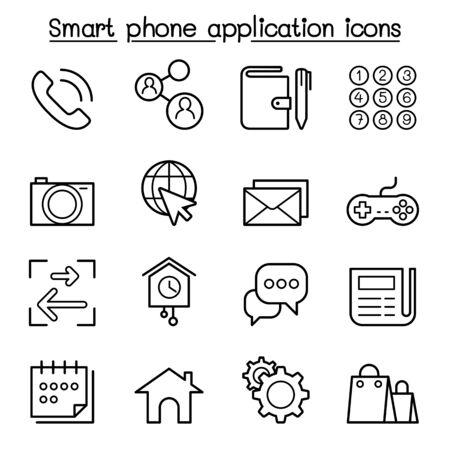Basic Smart phone Application icon set in thin line style