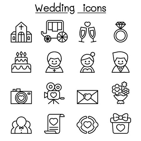 poet: Wedding icon set in thin line style
