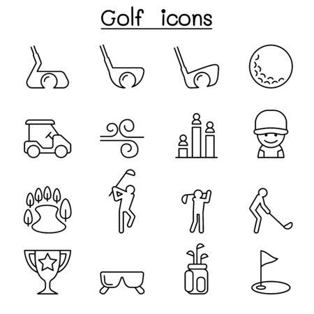 icône Golf dans le style mince mis en ligne