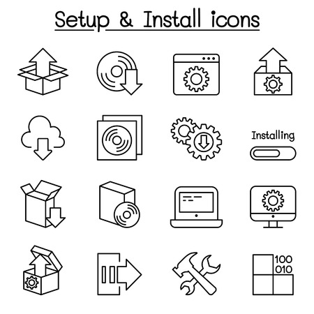 Setup, configuration, maintenance & Installation icon set in thin line style