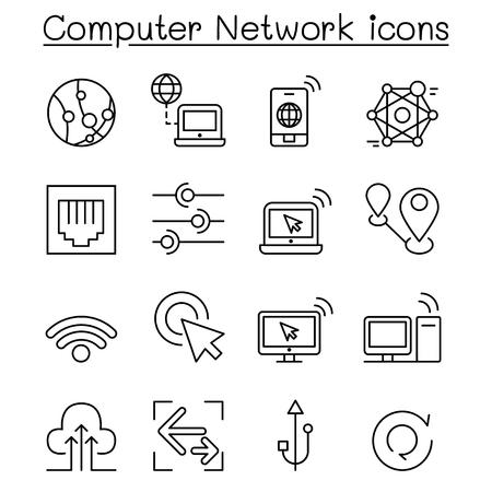 Computer Network Icons set in thin line style Illusztráció
