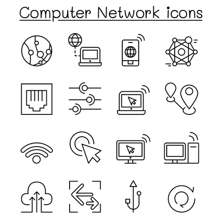 Computer Network Icons set in thin line style Vettoriali