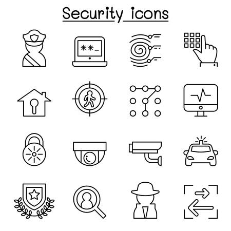 Icono de seguridad establecido en un estilo de línea delgada