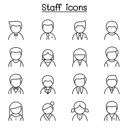 Staff icon set in thin line style