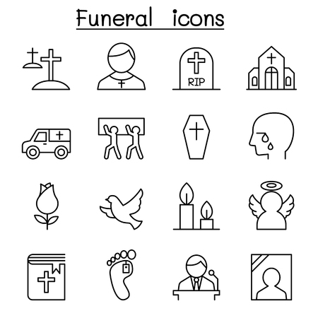 mortician: Funeral & burial icon set in thin line style