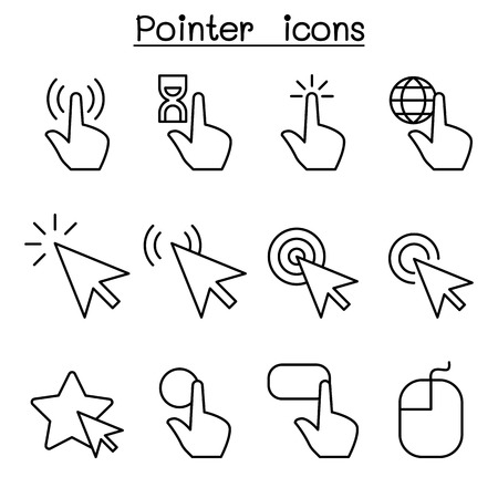 Cursor , Pointer, Click , Arrow , Finger icon set in thin line style