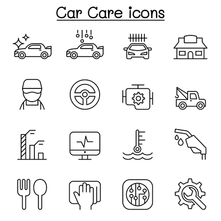 Car wash, car care icon set in thin line style Иллюстрация