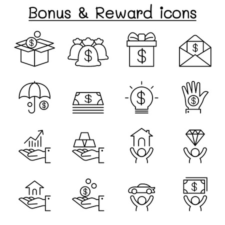 Bonus & Reward icon set in thin line style Illustration