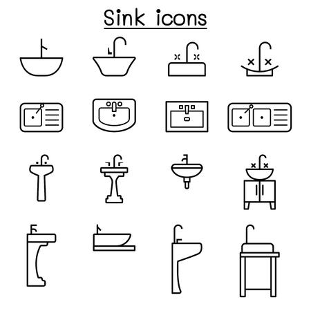 pedestal sink: Sink icon set in thin line style
