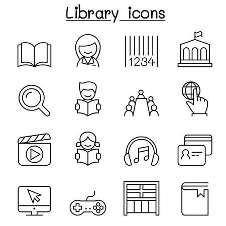 Library icon royalty free cliparts vectors and stock illustration library icon set in thin line style vector ccuart Choice Image
