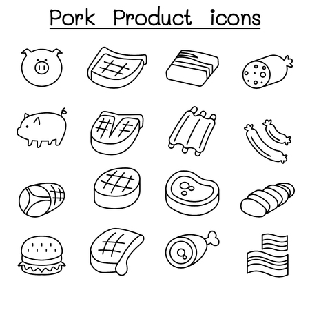 spare ribs: Pig & Pork Product icon set in thin line style