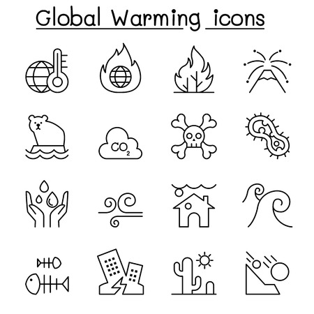 Global warming, Disaster, catastrophe icon set in thin line style