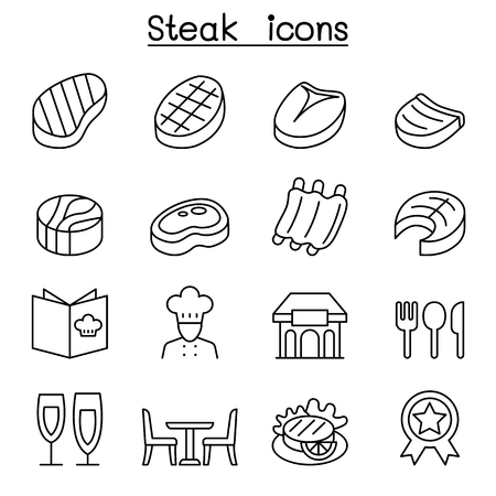 spare ribs: Steak icon set in thin line style Illustration