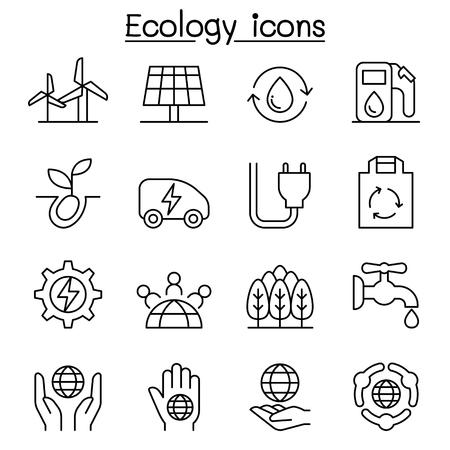 globe logo: Ecology, Green Energy icon set in thin line style