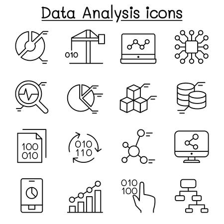 configure: Data mining Technology , Data Transfer , Data warehouse analysis icon set in thin line style