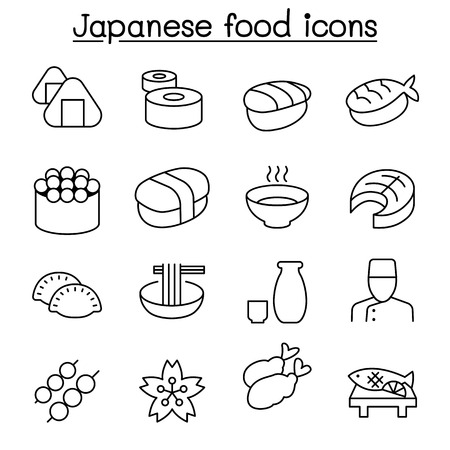 Japanese food icon set in thin line style Illustration