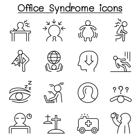 line work: Office syndrome , Staff health care icon set in thin line style