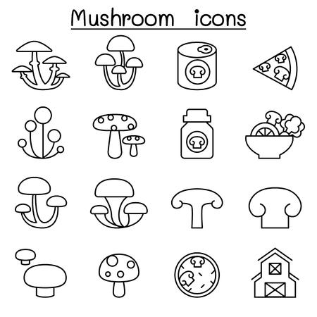 Mushroom icon set in thin line style