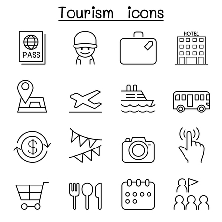 reservation: Tourist icon set in thin line style