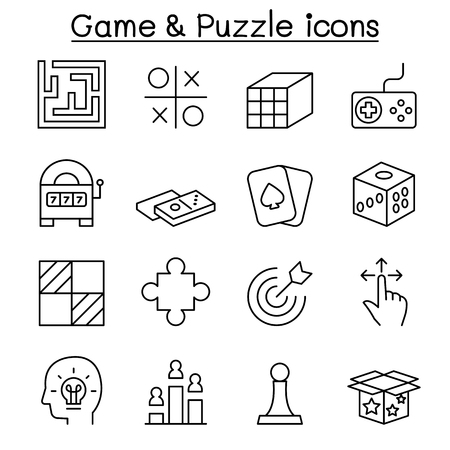 smart card: Game & Puzzle icon set in thin line style Illustration