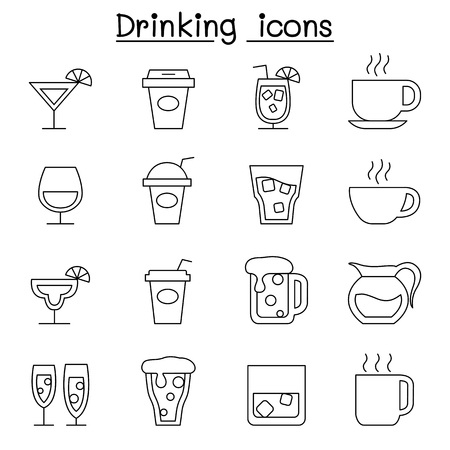 Drinking icon set in thin line style