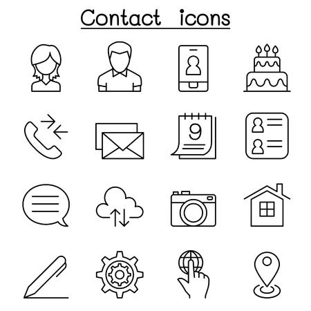 L'icône de contact est définie en style linéaire Vecteurs