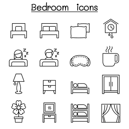 bunk bed: Bedroom icon set in thin line style