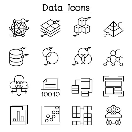 Database , Data & Graph icon set in thin line style 向量圖像