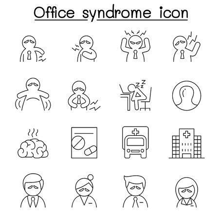 gloom: Office syndrome icon set in thin line style