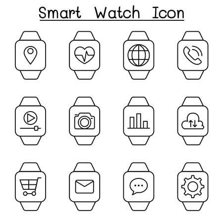 time sharing: Smart watch icon set in thin line style Stock Photo