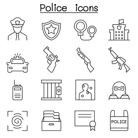 burglar proof: Police icon set in thin line style