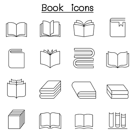 magazine stack: Book icon set in thin line style Illustration