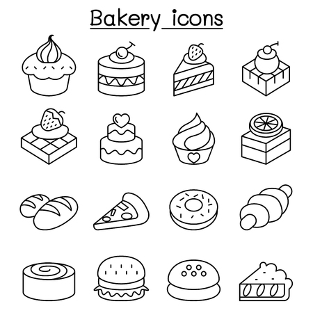 Bakery & Pastry icon set in thin line style
