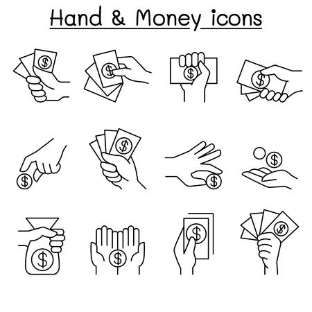 Money & Hand, investment, asset, money, cash, profit, interest, finance icons set in thin line style Illustration