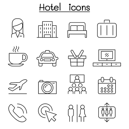 apartment suite: Hotel icon set in thin line style