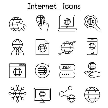Ícono de tecnología de Internet en estilo de línea delgada