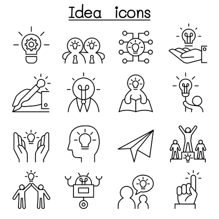 Idea & Creative icon set in thin line style