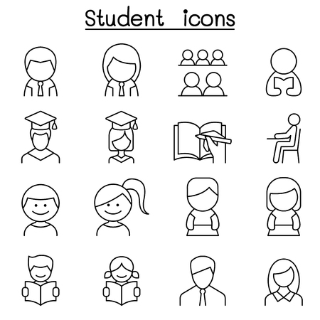 iq: Student & Education icon set in thin line style Illustration