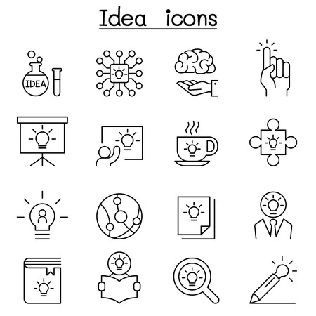 Idea, Creative, Innovation, Inspiration icon set in thin line style Ilustração