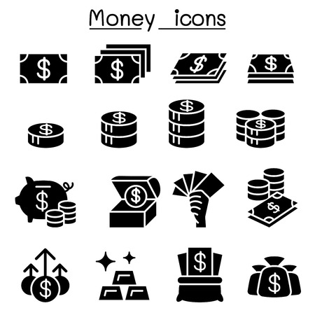 wages: Money icon set in thin line style