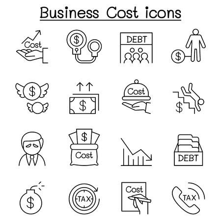 Costo di affari, debito, imposta, icona di crisi impostato nello stile di linea sottile Archivio Fotografico - 80265418