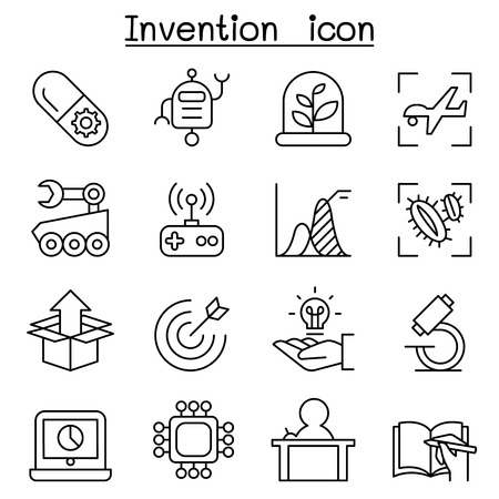 Innovation & Creative idea concept icon set in thin line style Illustration