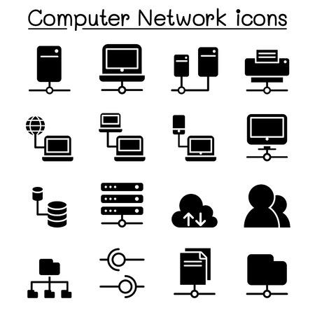 ベクトル イラスト グラフィック デザインのサーバー ・ コンピューター ネットワーク アイコンを設定