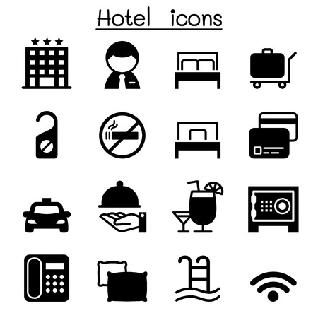 breakfast in bed: Hotel icon set Vector illustration Graphic Design