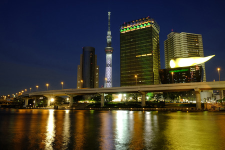 Japan, Tokyo, Night shot, Skyline on Sumida River