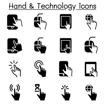 touch screen phone: Hand & Digital Device icons