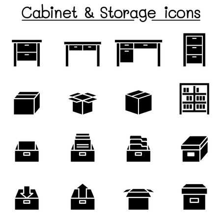 Storage, Cabinet, Drawer icons Illustration