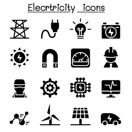 electric grid: Electricity industrial icons